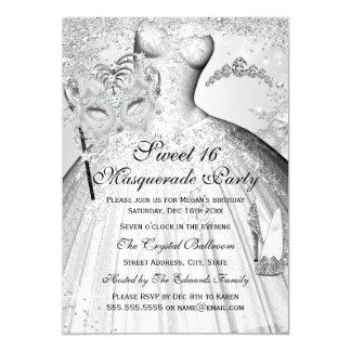 Pretty Silver Princess Masquerade Sweet 16 Invite