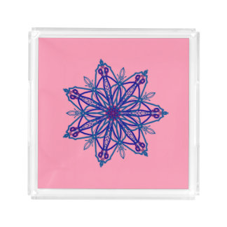 Pretty single snowflake star kaleidoscope on pink acrylic tray
