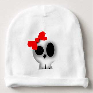 Pretty Skull with Red Bow Baby Beanie