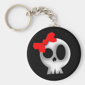 Pretty Skull with Red Bow Basic Round Button Keychain