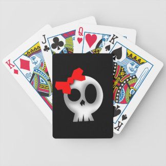 Pretty Skull with Red Bow Bicycle Playing Cards