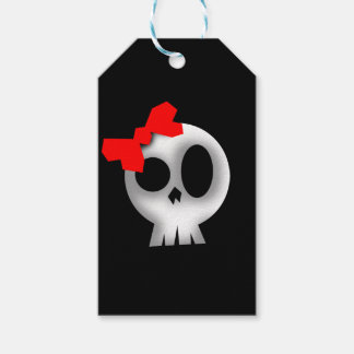 Pretty Skull with Red Bow Gift Tags