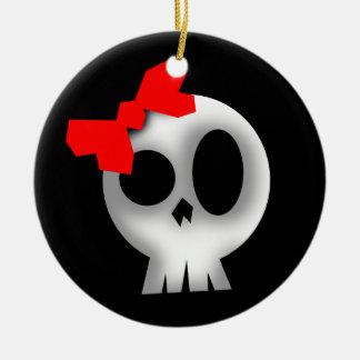Pretty Skull with Red Bow Round Ceramic Ornament