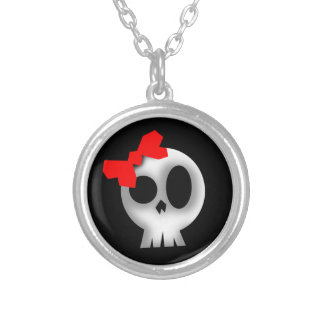 Pretty Skull with Red Bow Silver Plated Necklace