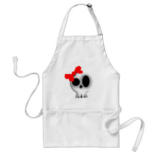 Pretty Skull with Red Bow Standard Apron