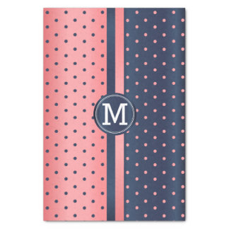 Pretty Slate Blue and Coral - Monogram Tissue Paper