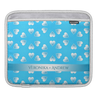 Pretty small blue hearts. Add your own text. iPad Sleeve