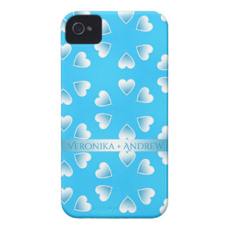 Pretty small blue hearts. Add your own text. iPhone 4 Case-Mate Case