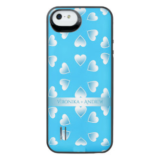 Pretty small blue hearts. Add your own text. iPhone SE/5/5s Battery Case