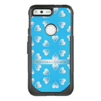 Pretty small blue hearts. Add your own text. OtterBox Commuter Google Pixel Case