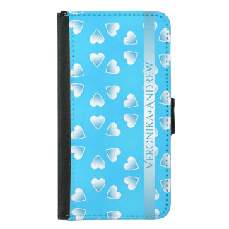 Pretty small blue hearts. Add your own text. Samsung Galaxy S5 Wallet Case