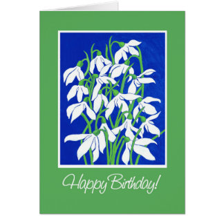 Pretty Snowdrops on Blue and Green Winter Birthday Card