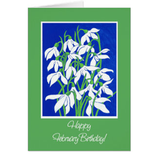 Pretty Snowdrops on Blue for a February Birthday Card