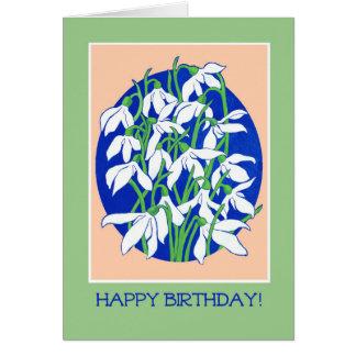 Pretty Snowdrops on Blue for a Winter Birthday Card
