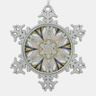 Pretty Snowflake Centered Star Pewter Snowflake Ornament