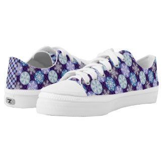 Pretty Snowflakes Blue and Violet Winter Pattern Low-Top Sneakers