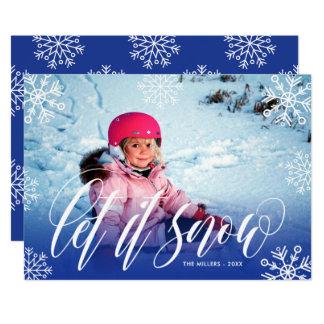 Pretty Snowflakes - Let It Snow - Christmas Photo Card