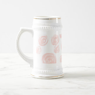 Pretty soft pink rose pattern on white. beer stein