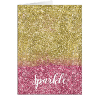 Pretty Sparkle Gold Pink Faux Glitter Card