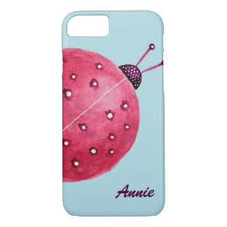 Pretty Spherical Abstract Watercolor Ladybug Name iPhone 8/7 Case