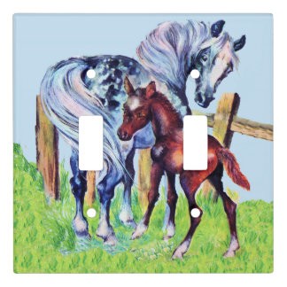 Pretty Spotted Gray Mother Horse Brown Colt Fence Light Switch Cover