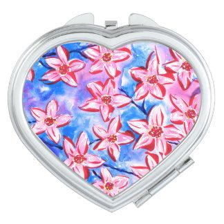 Pretty Spring Blossom Watercolour Compact Mirror