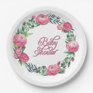 PRETTY SPRING FLORAL PINK ROSES WREATH BABY SHOWER PAPER PLATE