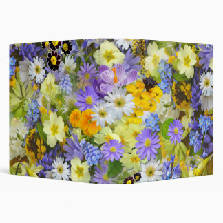 Pretty Spring Flowers Collage 3 Ring Binder