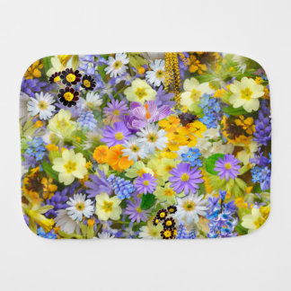 Pretty Spring Flowers Collage Baby Burp Cloths