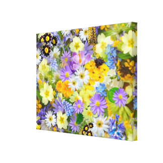 Pretty Spring Flowers Collage Canvas Print