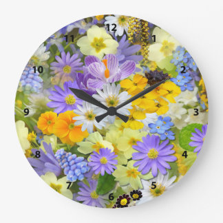 Pretty Spring Flowers Collage Clock
