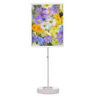 Pretty Spring Flowers Collage Table Lamps