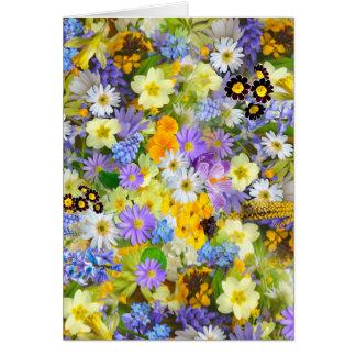 Pretty Spring Flowers Lush Colourful Bouquet Card
