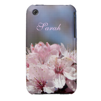 pretty spring pink cherry blossom in blue sky iPhone 3 Case-Mate cases