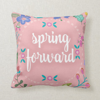 Pretty Springtime Spring Forward Floral Throw Pillow