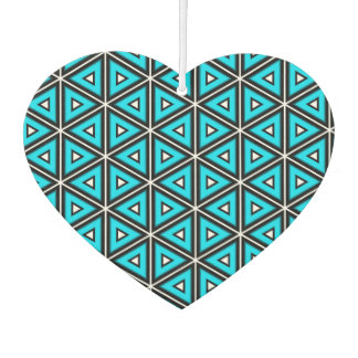 Pretty Square White, Black and Turquoise Pattern Air Freshener