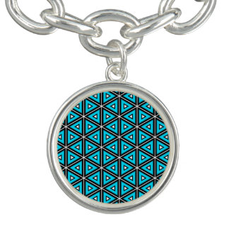 Pretty Square White, Black and Turquoise Pattern Bracelet
