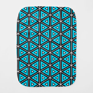 Pretty Square White, Black and Turquoise Pattern Burp Cloth
