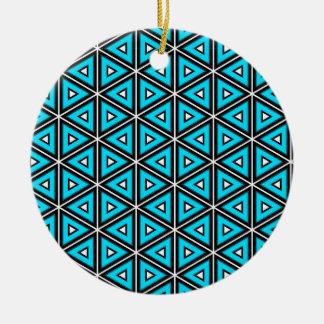 Pretty Square White, Black and Turquoise Pattern Ceramic Ornament