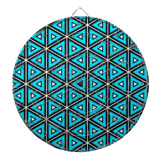 Pretty Square White, Black and Turquoise Pattern Dartboard