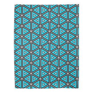 Pretty Square White, Black and Turquoise Pattern Duvet Cover