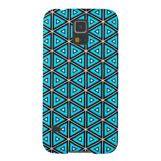 Pretty Square White, Black and Turquoise Pattern Galaxy S5 Cover