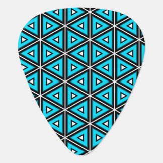 Pretty Square White, Black and Turquoise Pattern Guitar Pick