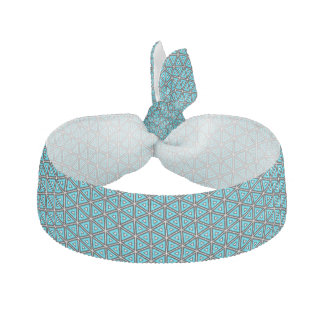 Pretty Square White, Black and Turquoise Pattern Hair Tie