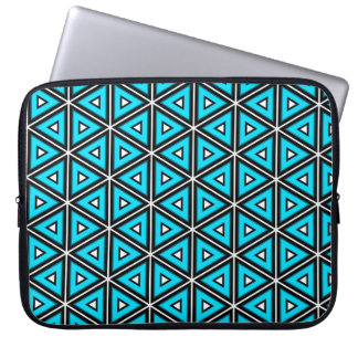 Pretty Square White, Black and Turquoise Pattern Laptop Sleeve