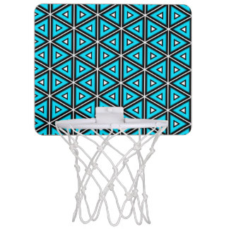 Pretty Square White, Black and Turquoise Pattern Mini Basketball Hoop