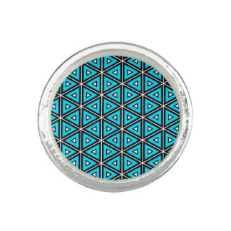 Pretty Square White, Black and Turquoise Pattern Photo Rings