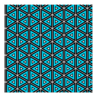 Pretty Square White, Black and Turquoise Pattern Poster