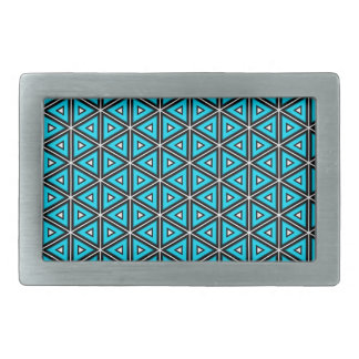 Pretty Square White, Black and Turquoise Pattern Rectangular Belt Buckle