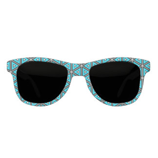 Pretty Square White, Black and Turquoise Pattern Sunglasses